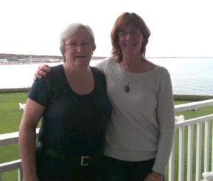 Leaders Alice Kinahan and Eileen enjoy a moment before the group arrives.